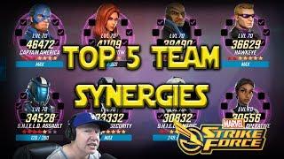 Top 5 Best Team Synergies - Feb 2019 - Marvel Strike Force - MSF