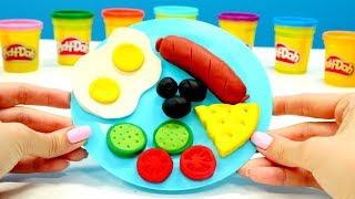 Завтрак с Плей До. Лепим вкусняшки из пластилина Play Doh.