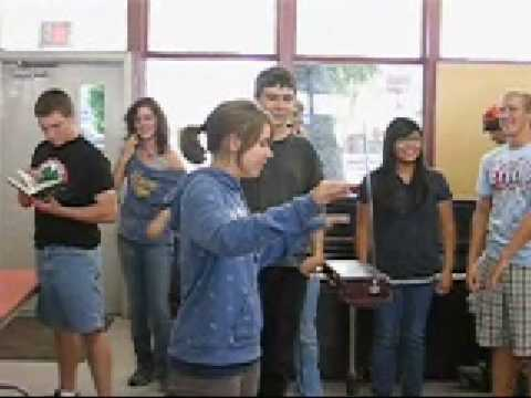 Sierra High School students check out the Theremin with Blake Jones