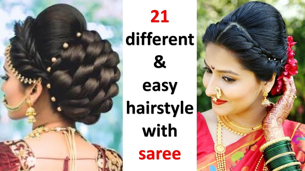 5 quick and different hairstyles with saree  easy hairstyles  try on  hairstyles  hairstyle
