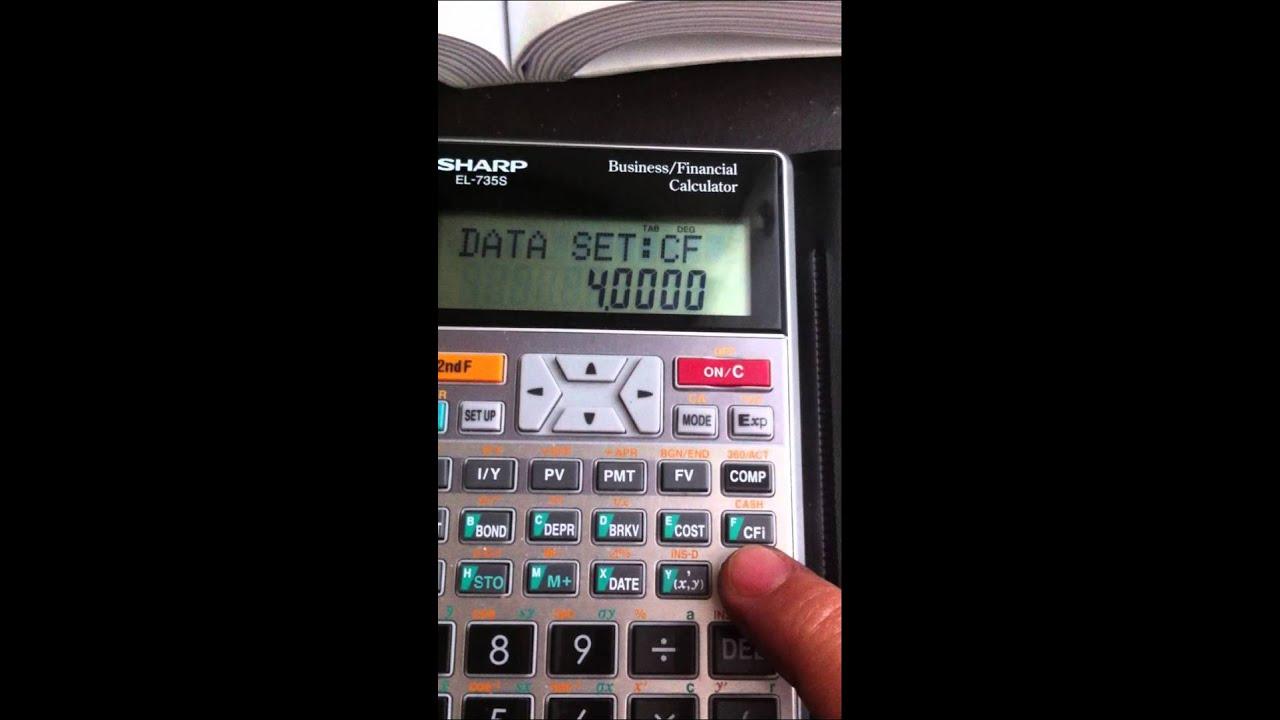 npv calculation by financial calculator sharp el