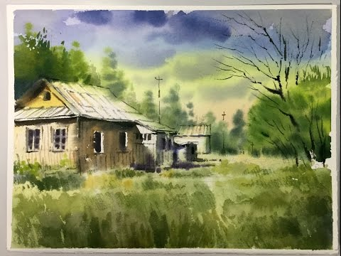 Watercolor Landscape painting : abandoned houses on the meadow