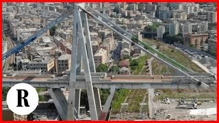 Il Ponte Morandi visto dal drone prima della demolizione con l'esplosivo