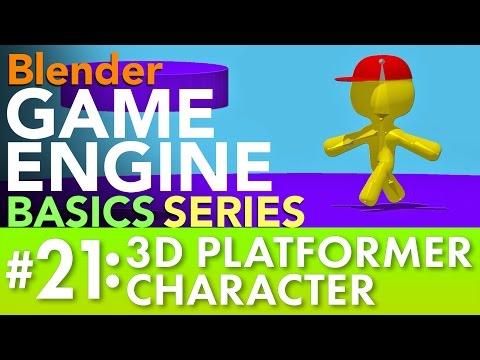 Blender Game Engine Basics Tutorial #21: 3D Platformer Character #b3d #gamelogic