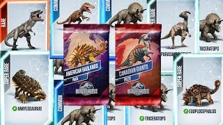 10 Packs Opening - Canadian Giants and American Badlands - Jurassic World The Game
