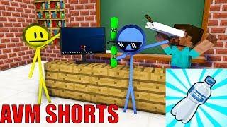 Monster School: AVM SHORTS - STICKMAN CHALLENGE & BOTTLE FLIP with ALCHEMY - Minecraft Animation