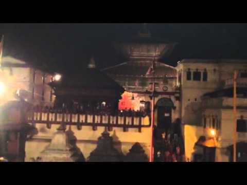 Singing prayers at Pashupatinath in Kathmandu, Nepal