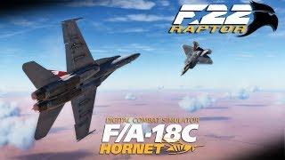 DCS: F-22 Raptor MOD Vs F/A-18C Hornet Dogfight