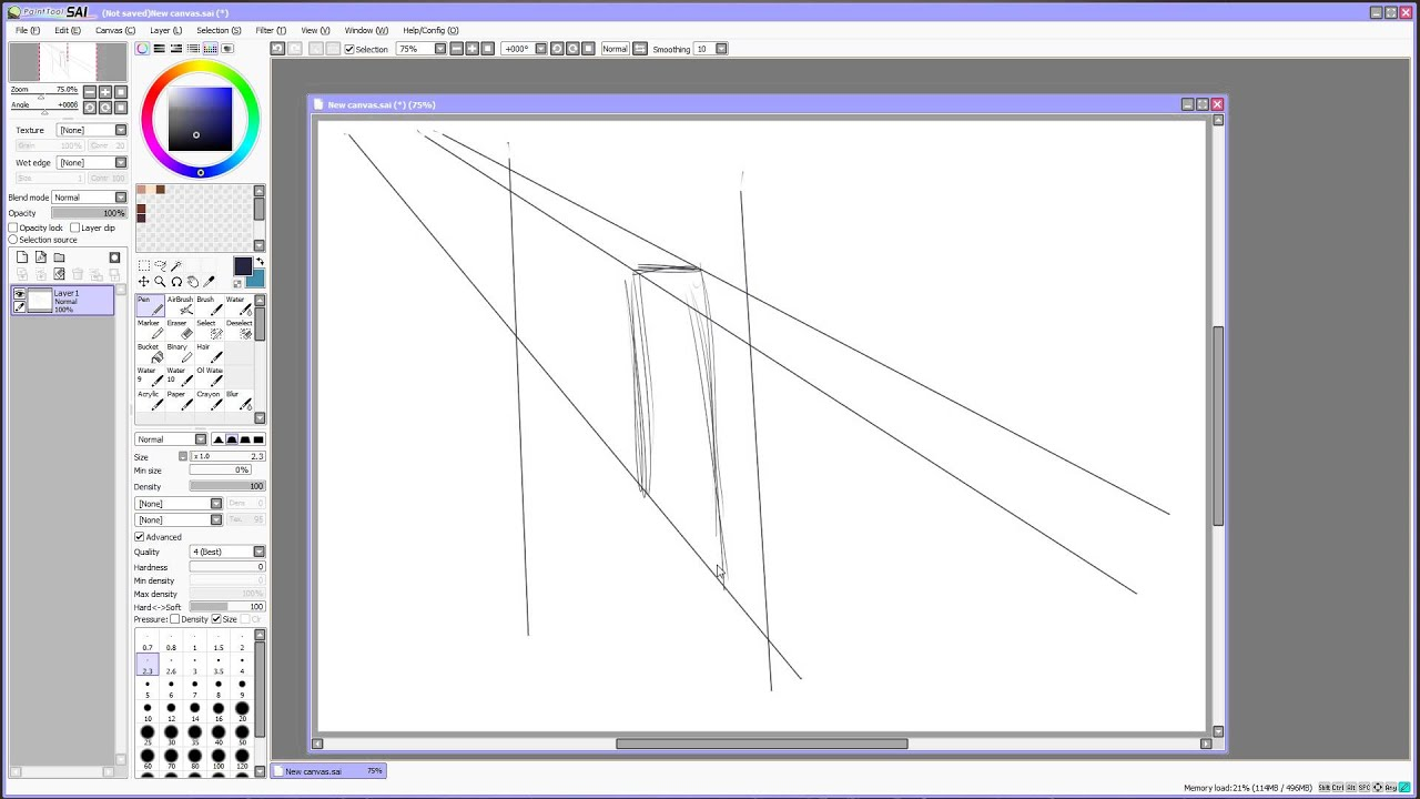 Drawing Straight Lines With Brush In Photo : Paint tool sai tutorial straight lines and colorize