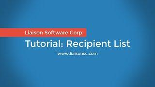 Liaison Messenger EDD Recipient List Editor [4/5]