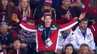 Scott Moir yelling at the hockey refs at Women's USA vs Canada