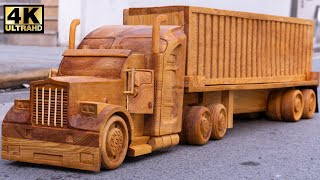 Wood Carving - Container Truck Wooden -  Amazing Woodworking Project   Wood World