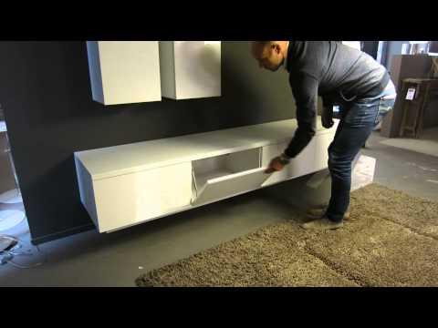 Tv Meubel Ophangen.Zwevend Design Tv Meubel Hoogglans Wit Ho 19 2 4 Youtube