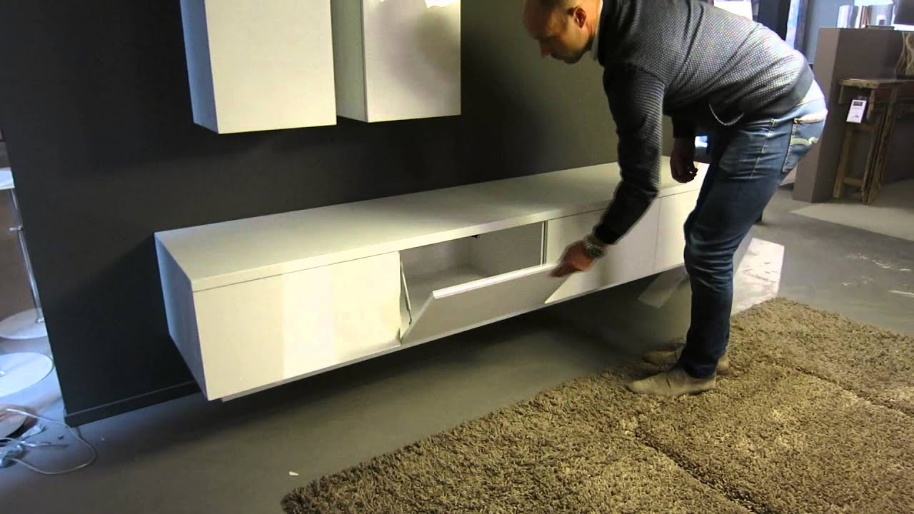 Zwevend Design TV Meubel Hoogglans wit HO 19 2,4 - YouTube