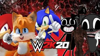 WWE 2K20 -  Sonic, tails & Knuckles vs cartoon cat, cartoon dog & siren head