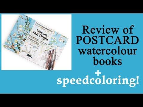 review-of-postcard-watercolour-book-'van-gogh'-+-speedcoloring