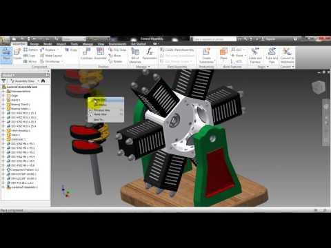 Autodesk Inventor 2012 6 cylinder radial engine tutorial pt13