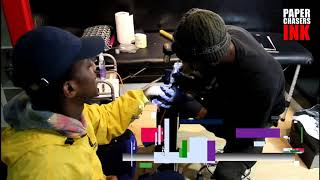 BLACK JOSH GET HAND TATTOO IN THE PAPERCHASERS INK STUDIO