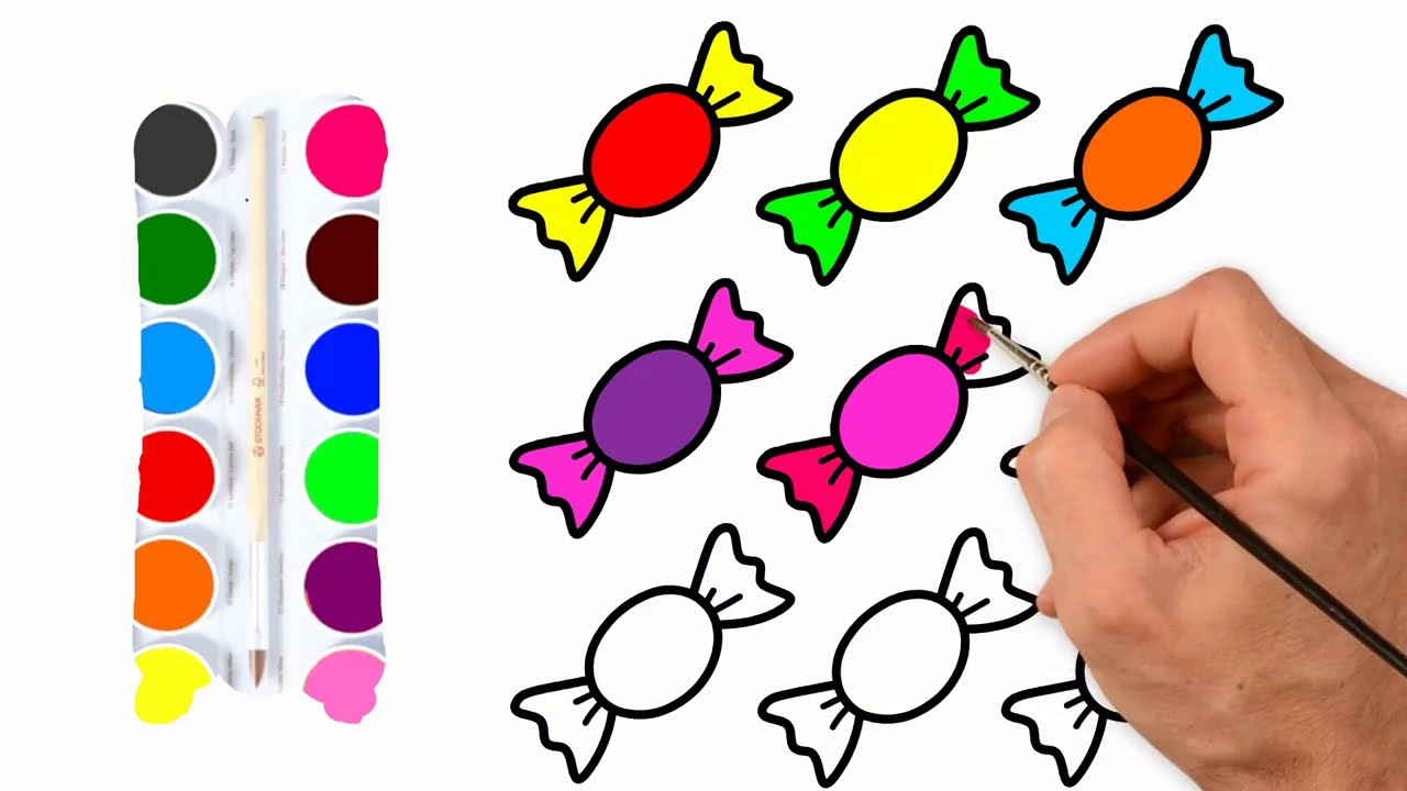 How To Draw Candy Rainbow For Baby Coloring Pages For Kids Seker