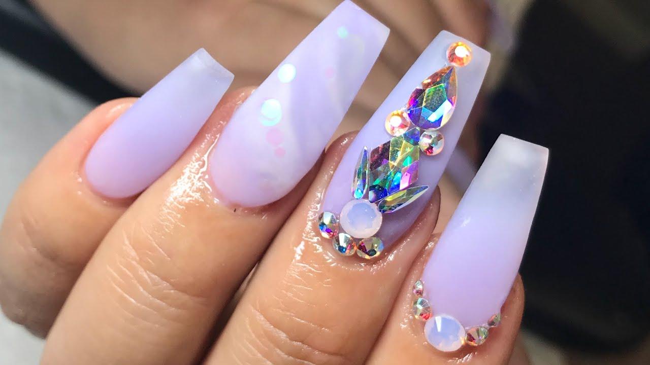 purple birthday nails watch