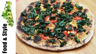 Grilled Kale Pizza With Smoked Gruyère, Sweet Corn & Chili Oil