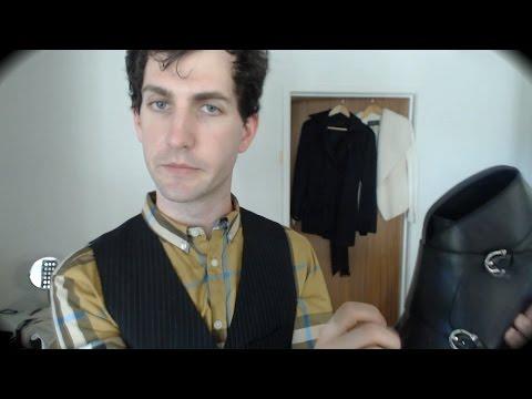 ASMR artist wears prada. Sassy clothing store roleplay. Leather shoe, fabric, binaural sounds