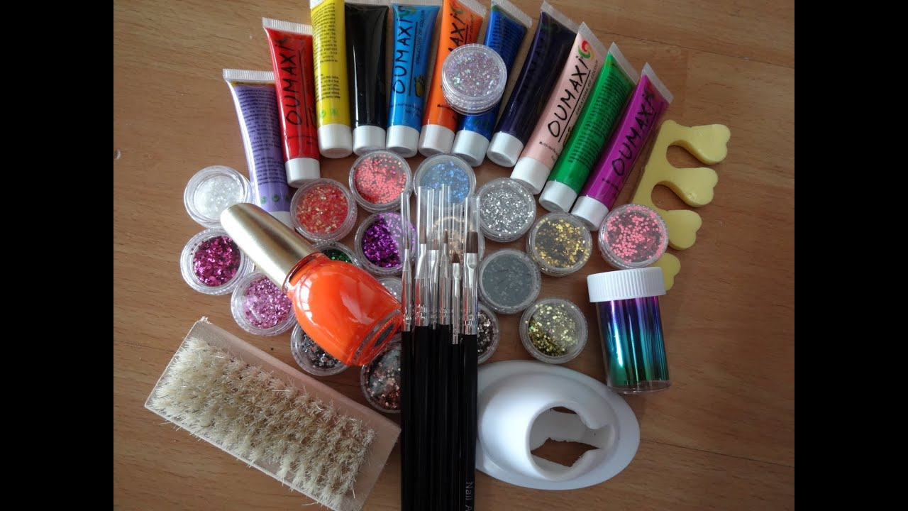 First Impression/Review/Demo Acrylic paints Brushes Glitter Nail ...