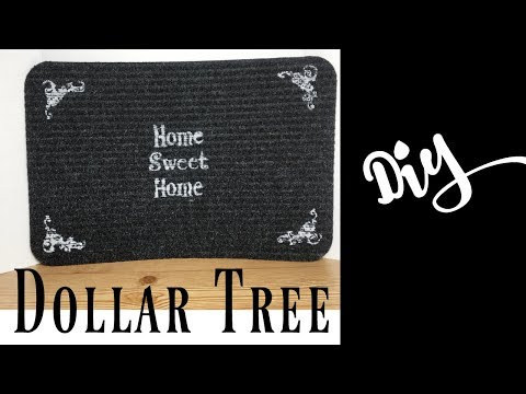 DIY Dollar Tree Stencil Floor Mats   How To Customize Your Own