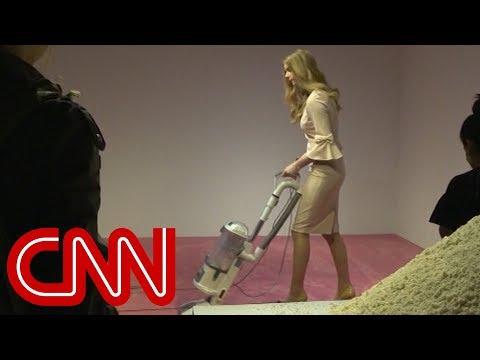 'Ivanka Trump' vacuums crumbs at art gallery