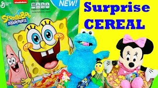 Surprise Cereal Challenge Spongebob Play-doh Cookie Monster Minnie Mouse Cinderella Ariel Mermaid
