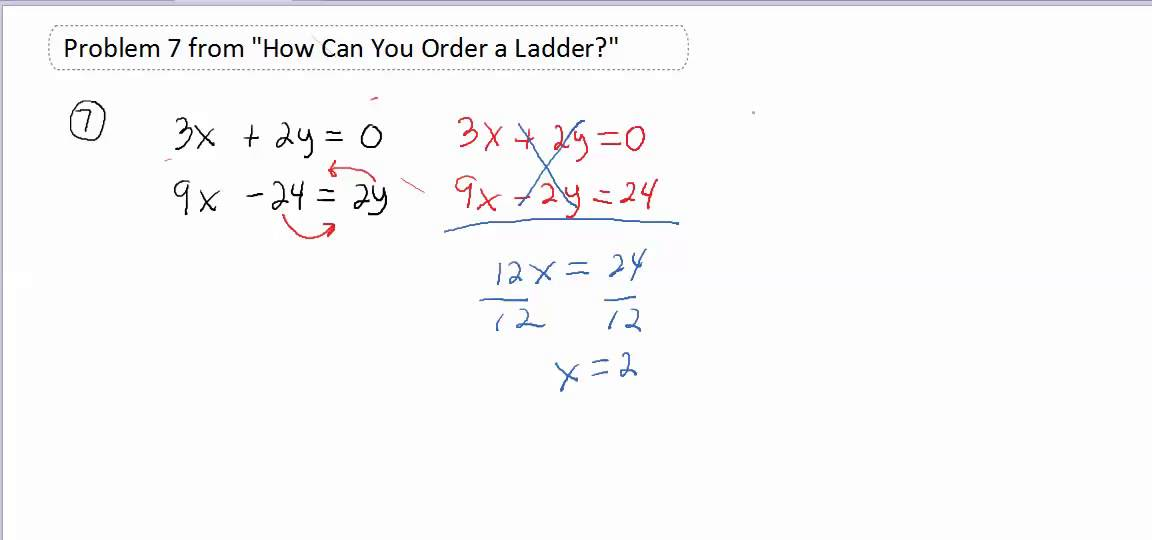Problem 7 From How Can You Order A Ladder Youtube