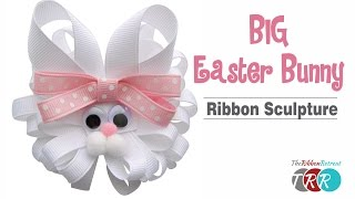 How to Make a Big Easter Bunny Ribbon Sculpture - TheRibbonRetreat.com