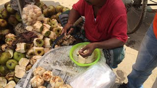 How They Cut and Open Toddy Palm Fruit in Asian Street । তালের শাঁস