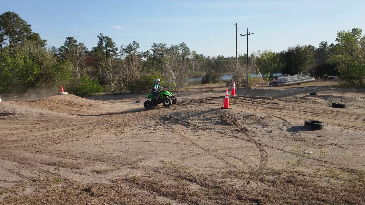 Myrtle Beach Atv Park Loris Front Side Of Main Track Ripping With Quad Kawasaki Kfx400