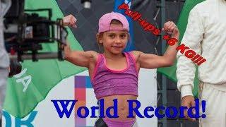 Мировой рекорд от 7-летней девочки по подтягиваниям +6 кг Князева Николь