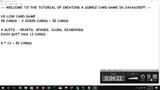 creating a basic card game in javascript