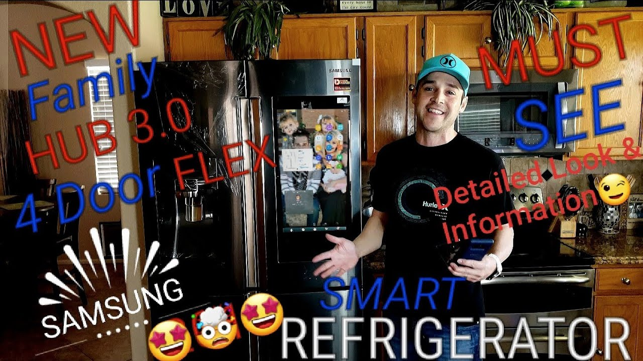 Samsung Family Hub 3 0 Smart Refrigerator Four Door Flex Touchscreen Bixby  Ring & AKG Soundbar!