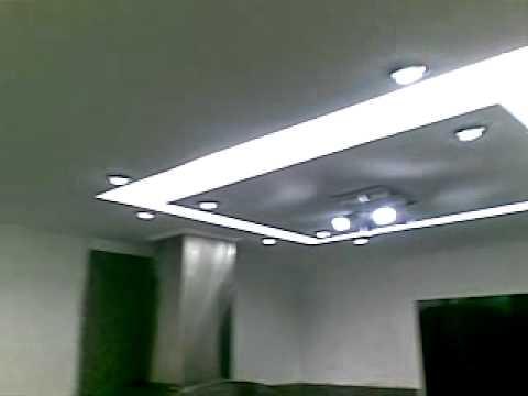 Techo en drywall para cocina youtube for Cielos falsos modernos