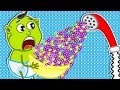 Lion Family   Play With a Strange Shower of M&M's   Cartoon for Kids