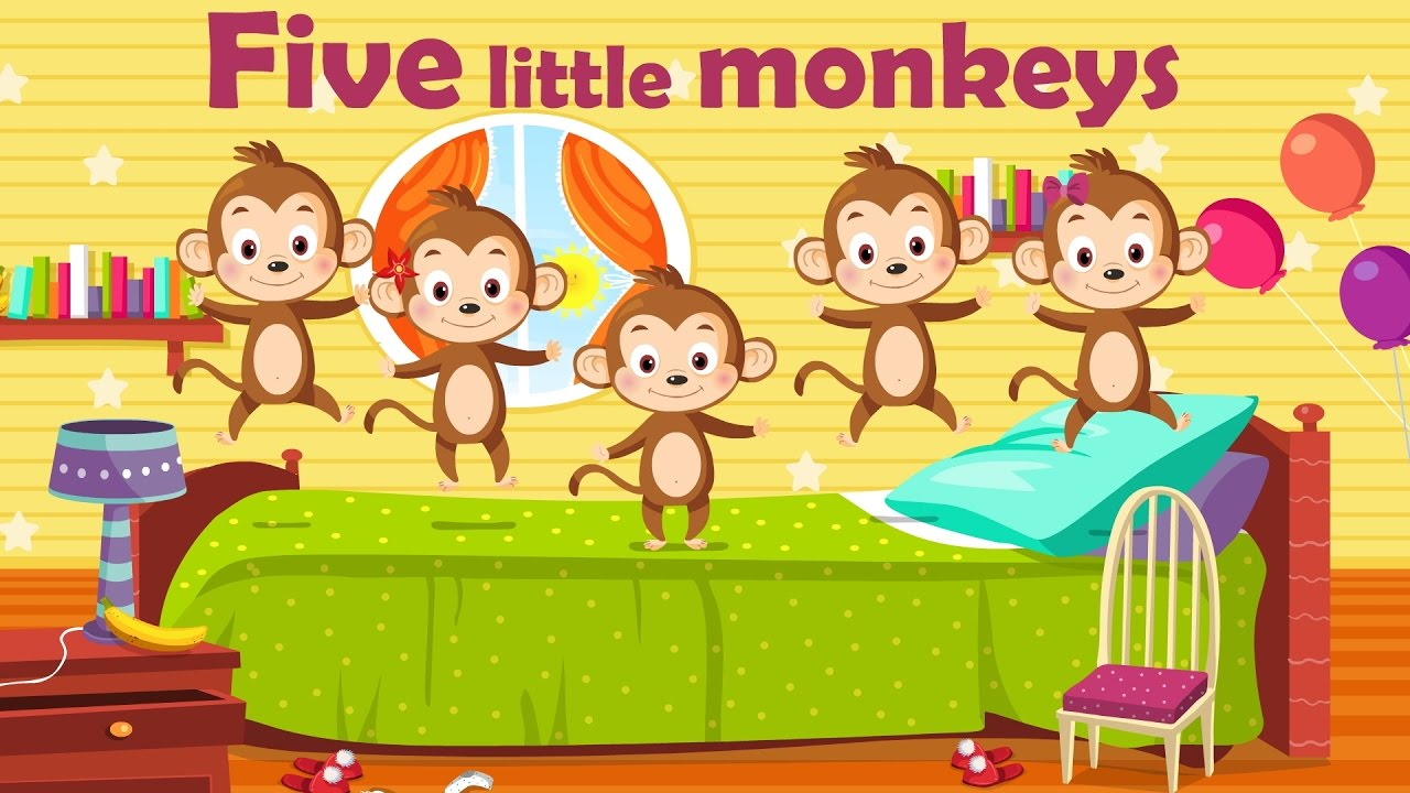 Five little monkeys ( Bilingual Nursery Rhyme, children song with ...