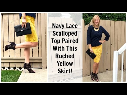 Navy Lace Top & Yellow Pencil Skirt