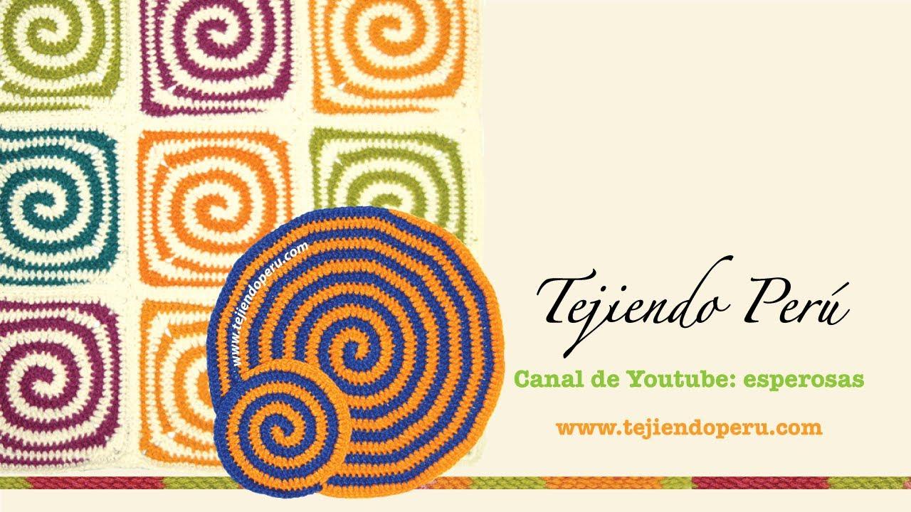 Tejido en espiral en dos colores a crochet (redondo y cuadrado o ...