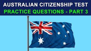 AUSTRALIAN CITIZENSHIP TEST 2018 - PRACTICE QUESTIONS - PART 3