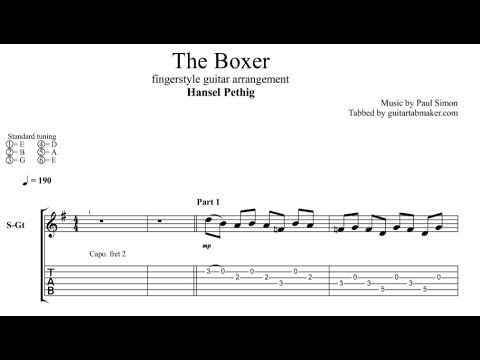 The Boxer TAB - acoustic fingerstyle guitar tab - PDF - Guitar Pro