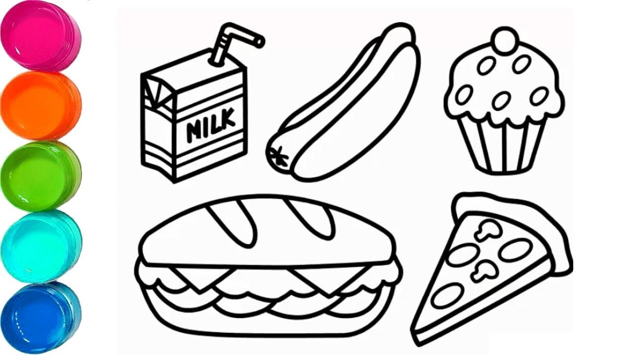 How To Draw Fast Food And Birthday Cake Cute Coloring Pages For