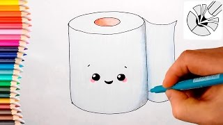 How to Draw a Cute Toilet Paper Roll and Color - Easy Drawing Tutorial