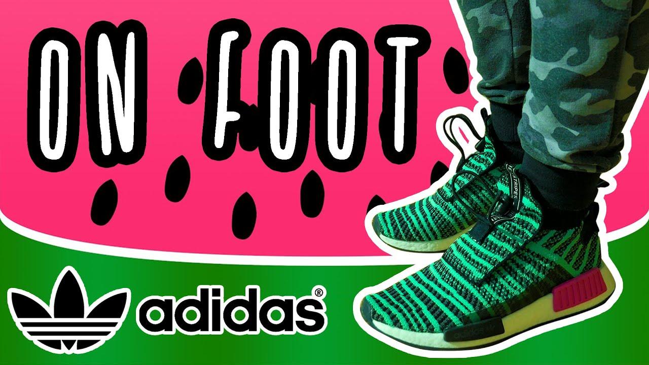 ADIDAS NMD WATERMELON shoes ON FEET