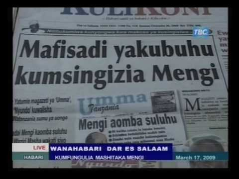 Clip: Newspapers to sue Mengi: 17 March 2009