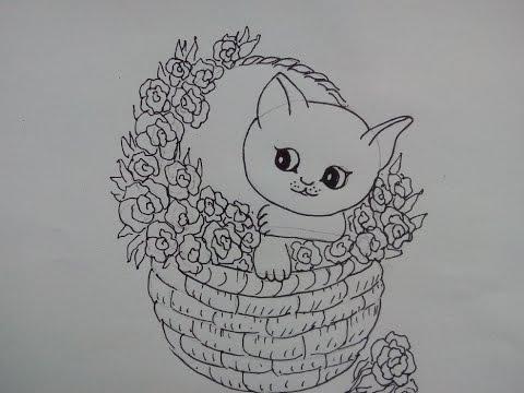 Cómo Dibujar Un Gatito En Canasta сomo Desenhar Uma Cesta Gato