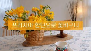 꽃작업실 튤, 프리지아 한단으로 꽃바구니 만들기 프리지…
